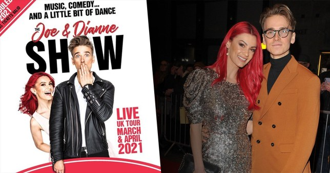 Joe Sugg and Dianne Buswell tour poster and pictured on red carpet
