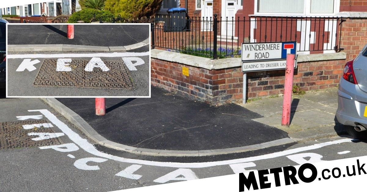 Fed-up resident paints 'keap claer' on road to stop people parking on corner