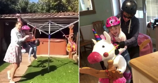 These videos show an iconic mum keeping her kids entertained during lockdown - by turning the washing line into a FAIRGROUND