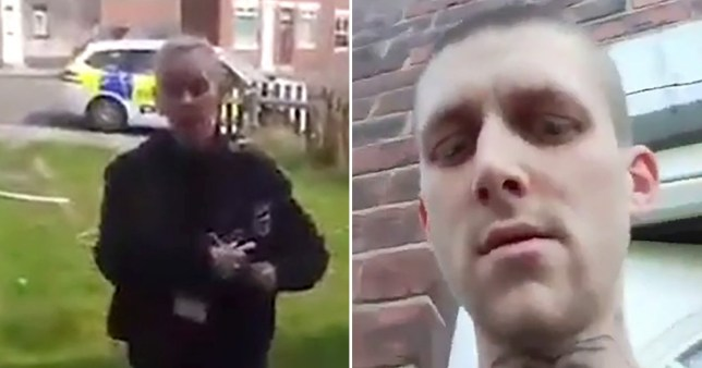 A father was told he was not allowed to spend time in his own front garden by police