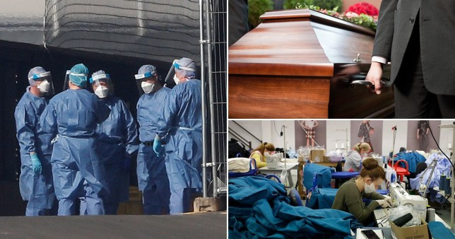Medical staff are seen wearing PPE clothing outside the NHS Nightingale Hospital at the Excel Centre, London, stock image of coffin being held at ceremony and Machinists concentrate as they work to sew scrubs for the NHS at the factory of Fashion Enter in London, as the country is in lockdown