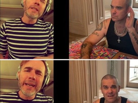 Gary Barlow and Robbie Williams have their own mini Take That reunion to perform virtual duet in lockdown