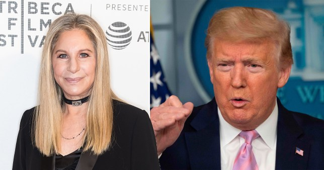barbra streisand and president donald trump pictured separately