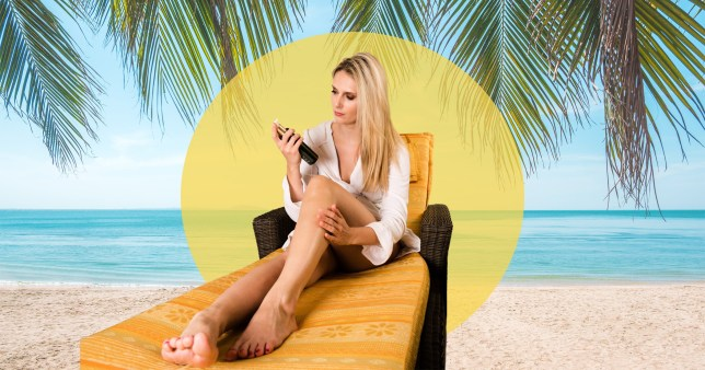 woman on a sun lounger with fake tan bottle