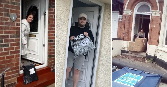 people caught on their doorsteps as they pick up packages