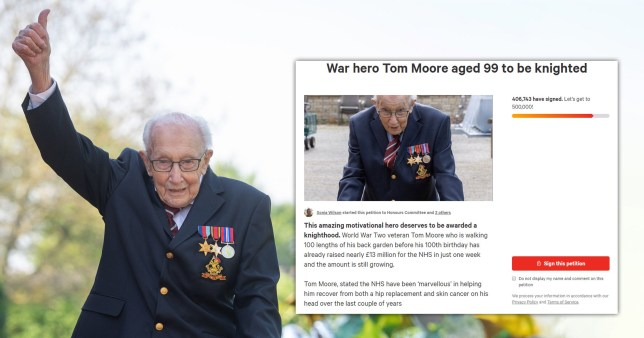 Tom Moore knighthood petition passes 400,000 signatures
