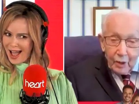 Amanda Holden blushes as Captain Tom Moore gets 'flirty' during FaceTime interview