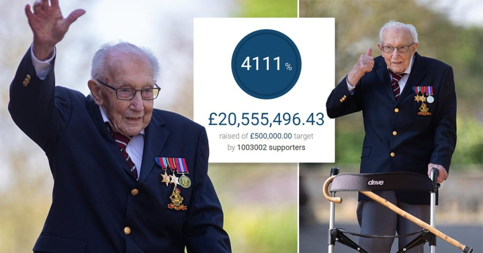 War hero captain Tom Moore has raised £20 million for the NHS (Picture: Rex)
