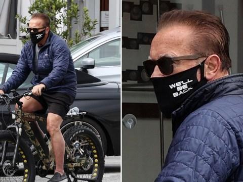 Arnold Schwarzenegger wears epic 'we'll be back' mask as he heads out amid coronavirus lockdown