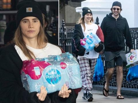 Robert Pattison and Suki Waterhouse pop out for supplies during coronavirus lockdown