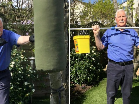 An OAP made his own gym using paint pots and old tights to work out during lockdown