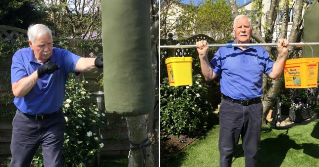 OAP Tony Robertson, who has been working out in his garden during the lockdown