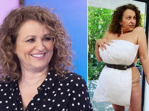 Nadia Sawalha finds her 'inner supermodel' as she attempts pillow challenge
