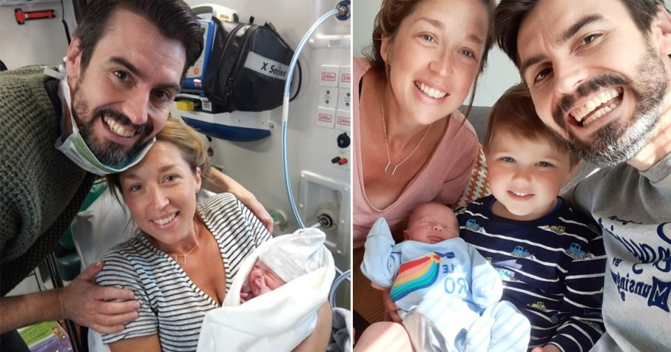 Teacher gave birth in car park when paramedics thought husband was cheering them on
