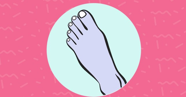 Illustration of a Greek foot, also known as Morton's toe, in a circle on a pink background.