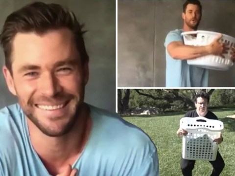 Chris Hemsworth gets the washing basket out for unique lockdown workout and we're sold