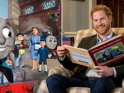 Prince Harry introduces Thomas the Tank Engine featuring Prince Charles and the Queen