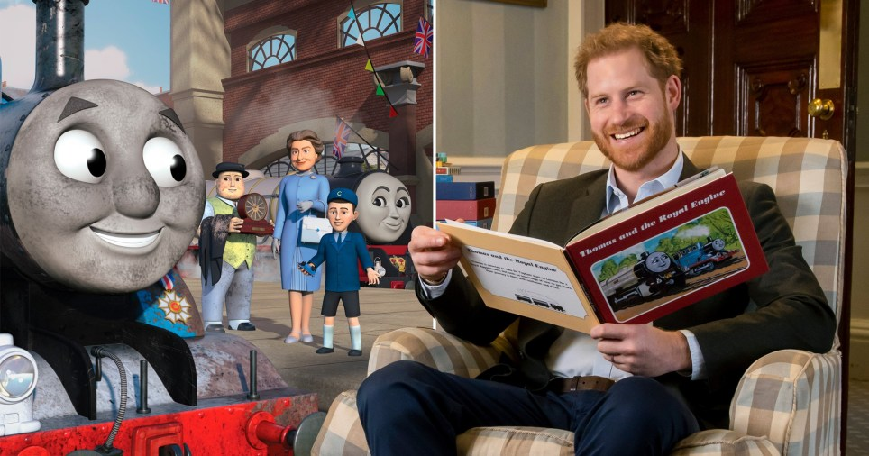 Prince Harry introduces Thomas the Tank Engine featuring the Queen and Charles