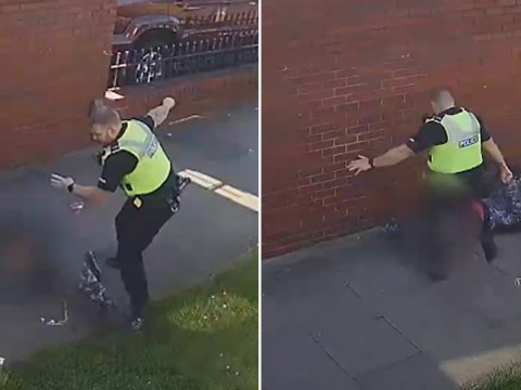 Police officer caught on CCTV hitting and kicking 15-year-old boy