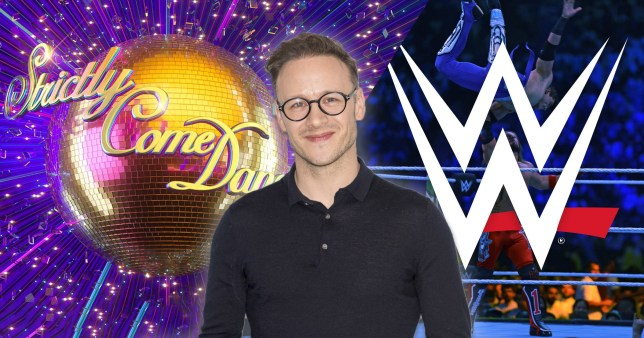 Kevin Clifton with WWE and Strictly Come Dancing logos