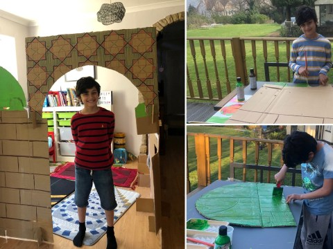 Muslim boy recycles cardboard to create his own mosque at home for Ramadan