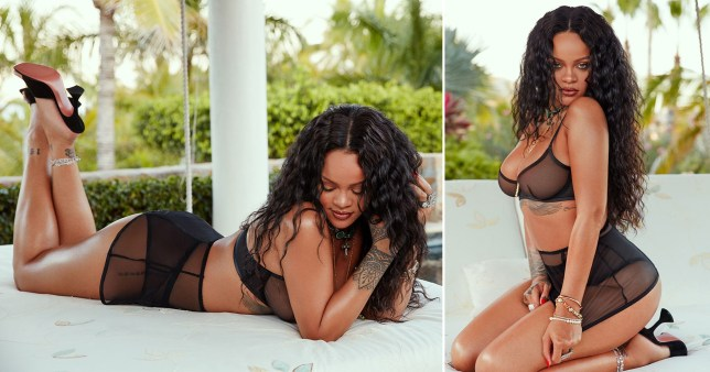 Rihanna posing in new Savage x Fenty lingerie