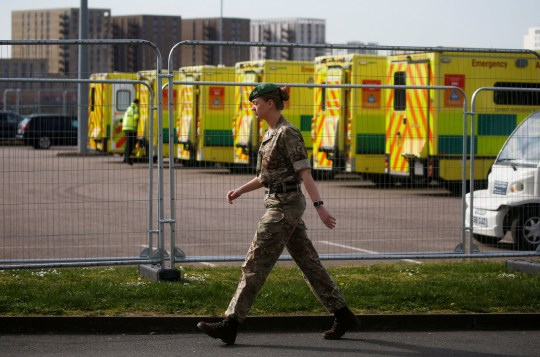 An army member is seen outside the Excel Center in London as it is becoming the NHS Nightingale Hospital, as the spread of coronavirus disease (COVID-19) continues , London, Great Britain, April 1, 2020. REUTERS / Henry Nicholls