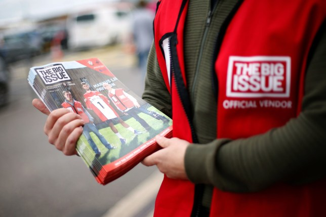 Embargoed to 0001 Thursday April 02 File photo dated 12/08/17 of a vendor selling The Big Issue magazine. The Big Issue is to be available in supermarkets and other stores from Thursday for the first time in its 29-year history in a move aimed at supporting vendors not able to sell it on the streets. PA Photo. Issue date: Thursday April 2, 2020. Sainsbury's will stock the magazine in hundreds of stores and online, while McColl's will sell it in 1,400 stores across the UK. See PA story HEALTH Coronavirus . Photo credit should read: Paul Harding/PA Wire