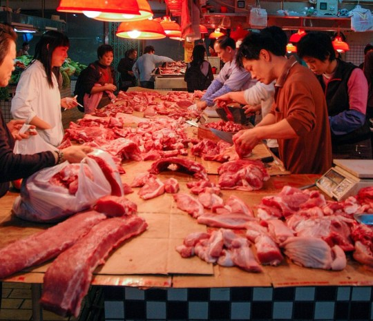 [UNVERIFIED CONTENT] This picture shows a typical public meat market in Shenzhen, China.