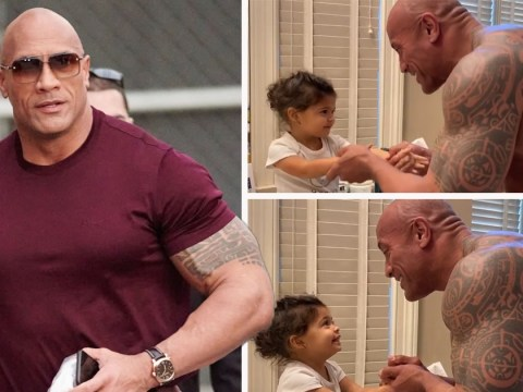 Dwayne The Rock Johnson singing to his daughter as they wash hands is the cutest thing ever
