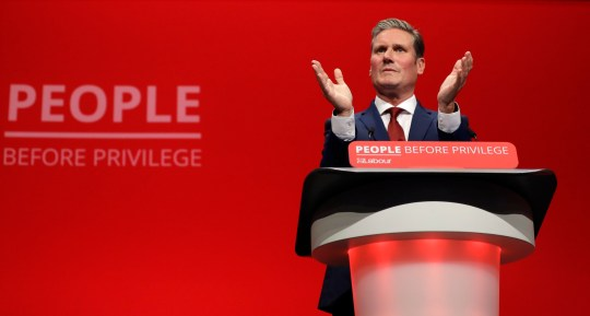 FILE - On Monday 23 September 2019, archival photo, British secretary Shadow Brexit Keir Starmer speaks on stage during the Labor Party conference at the Brighton Center in Brighton, England. The main British opposition party, the Labor Party, elected lawyer and legislator Keir Starmer as its new leader, after a competition shaken by the coronavirus epidemic, it was announced on Saturday April 4, 2020. (AP Photo / Kirsty Wigglesworth, file)