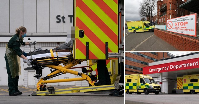 NHS A&E visits plummet by HALF in March as people 'fear they will catch coronavirus in hospital' (Picture: EPA, PA)