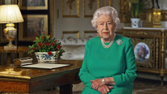 In this image taken from video and made available by Buckingham Palace, Britain's Queen Elizabeth II addresses the nation and the Commonwealth from Windsor Castle, Windsor, England, Sunday April 5, 2020. Queen Elizabeth II made a rare address, calling on Britons to rise to the challenge of the coronavirus pandemic, to exercise self-discipline in ???an increasingly challenging time???. (Buckingham Palace via AP)