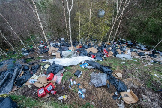 Fly tipping on the A671 near Burnley, Lancs. See SWNS story SWLErubbish. Councils have reported an uptick in the amount of rubbish being fly tipped during the coronavirus lockdown as recycling centres are closed.