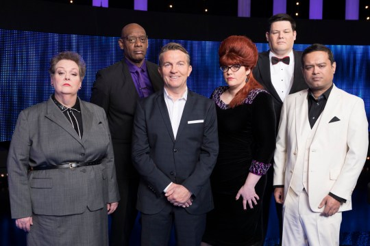 THE CHASE Weekdays on ITV Pictured: (l-r) Anne The 'Governess' Hegerty, Shaun 'The Barrister' Wallace, Host Bradley Walsh, Chaser Jenny 'The Vixen' Ryan, Mark 'The Beast' Labbett and Paul 'The Sinnerman'' Sinha From ITV Studios ? ITV Photographer: Gary Moyes For further information please contact Peter Gray 0207 157 3046 peter.gray@itv.com This photograph is ? ITV and can only be reproduced for editorial purposes directly in connection with the programme THE CHASE or ITV. Once made available by the ITV Picture Desk, this photograph can be reproduced once only up until the Transmission date and no reproduction fee will be charged. Any subsequent usage may incur a fee. This photograph must not be syndicated to any other company, publication or website, or permanently archived, without the express written permission of ITV Picture Desk. Full Terms and conditions are available on www.itv.com/presscentre/itvpictures/terms