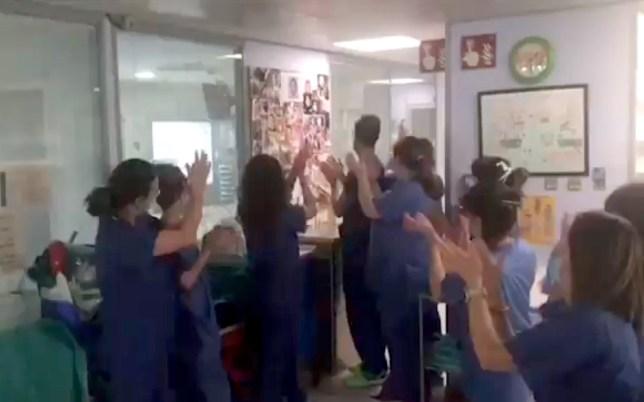Picture: Twitter Healthcare workers applaud as coronavirus-infected baby, 4 months, taken off ventilator in Spain https://twitter.com/nacholaisla/status/1246116073495240704
