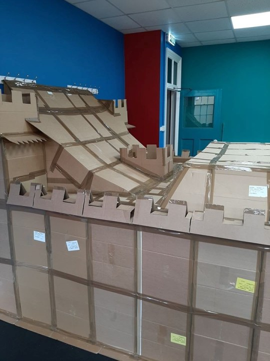 the roof of the cardboard fort