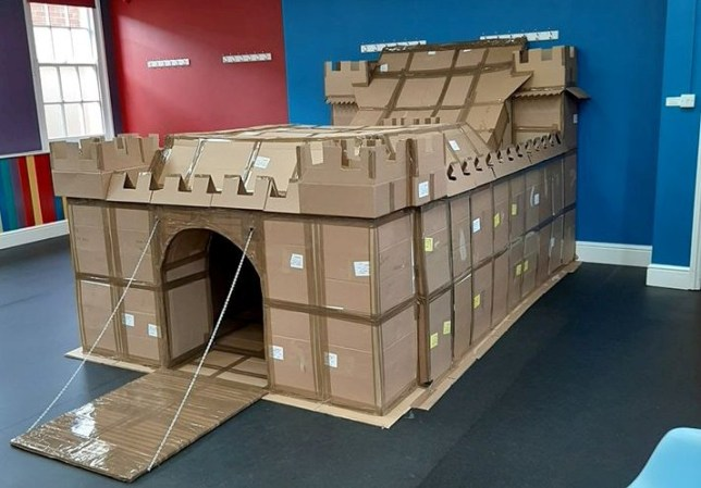 close up of the cardboard fort