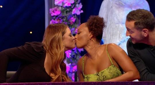 Mel B and Emily Atack kiss