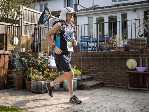 While you were sunbathing, this man ran an ultra-marathon in his back garden