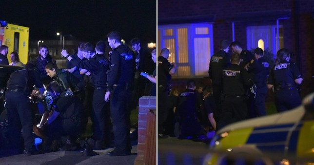 BGUK_1915504 - Stockton On Tees, UNITED KINGDOM - Police in Stockton were called to a report of a group of people drinking and 'Partying' outside the front of a house in Hardwick, Stockton in Teesside. One male was arrested and taken away in an Ambulance. The rest chased away and asked to go back into their homes. Around 20 officers and 4 paramedics were on scene, none wearing gloves or masks. Pictured: GV: Police break up house party BACKGRID UK 11 APRIL 2020 BYLINE MUST READ: TERRY BLACKBURN / BACKGRID UK: +44 208 344 2007 / uksales@backgrid.com USA: +1 310 798 9111 / usasales@backgrid.com *UK Clients - Pictures Containing Children Please Pixelate Face Prior To Publication*