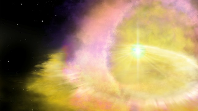 EMBARGOED FOR RELEASE: 13-APR-2020 16:00 BST (11:00 ET) This is an artist's impression of a supernova. See National News story NNshine. Astronomers have discovered a giant supernova explosion shining twice as bright as any other in the universe, up to 100 times bigger than our sun, according to British scientists. The glittering ball of mass is as least twice as bright and energetic than any other yet recorded and is thought to be extremely rare. Supernovae occur when a star reaches the end of its life and an explosion occurs. Dying stars are discovered every night but most are in vast galaxies while this one appeared to stand alone in the middle of nowhere.