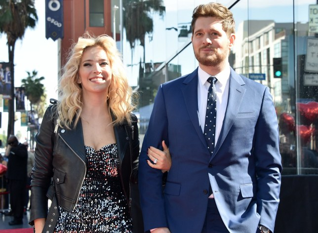 Michael Buble and wife Luisana Lopilato at Michael Buble's Hollywood Walk of Fame Star Ceremony held in front of W Hotel on November 16