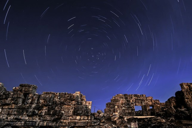The April Lyrids, a meteor shower lasting from April 16 to April 26 each year, is seen over the ancient city of Aizanoi in Kutahya, Turkey