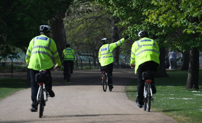 epa08366304 Police patrol on bicycles at St. James's Park in London, Britain, 16 April 2020. The British government is set to announce a further three-week lockdown due to the Coronavirus pandemic. Countries around the world are taking increased measures to stem the widespread of the SARS-CoV-2 coronavirus which causes the Covid-19 disease. EPA/ANDY RAIN