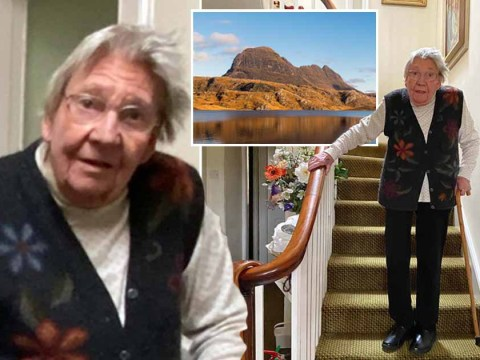 Pensioner, 90, raises £200,000 for NHS by climbing height of a mountain up her stairs