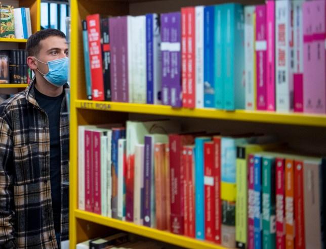 a customer in a bookstore