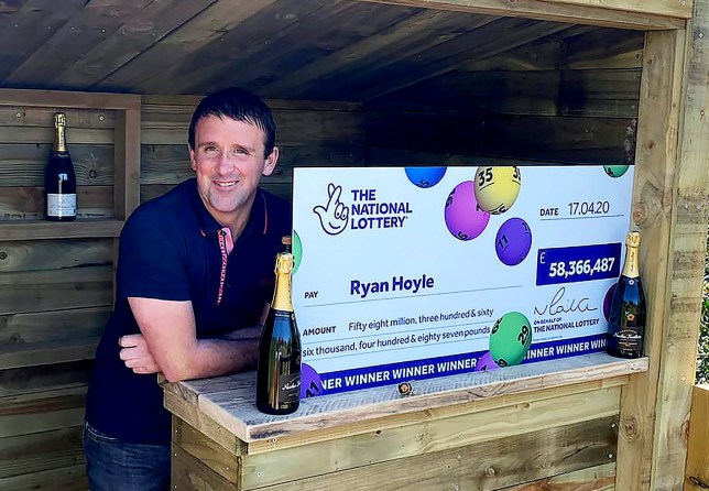 Ryan Hoyle. A hard-working joiner from near Rochdale is celebrating after winning the jackpot in the EuroMillions draw on Friday 17 April, 2020. The 38 year old is now an amazing ??58,366,487 better off and finds himself in 20th place on The National Lottery millionaire Rich List. See SWNS story SWLElotto. Ryan Hoyle (38) discovered the win while checking his emails at 6am on Saturday morning (18 April). The self-employed joiner, who normally buys his tickets in store but who has been playing online recently during the lockdown, spotted an email from The National Lottery with the title, ???You???ve Won???. It looked at first as if he had won ??2.30 but, as he scanned his account he saw that his second line had also matched some numbers and this time the winning amount was eight digits long!