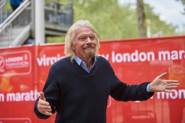 Sir Richard Branson attends the London Marathon and congratulates some of the runners on Sunday April 28th, 2019 (Photo by Karyn Louise/NurPhoto via Getty Images)