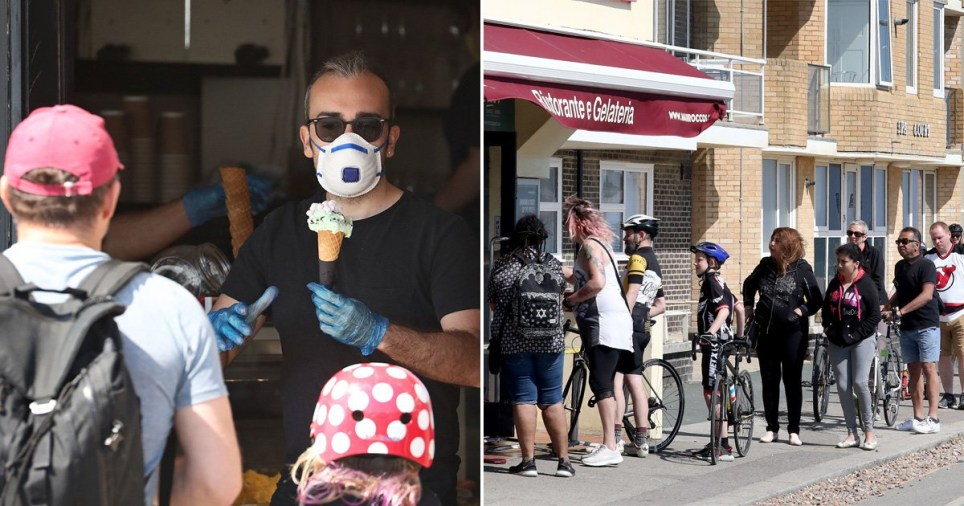 A man sells ice cream from a cafe in Hove, East Sussex, as the UK continues in lockdown to help curb the spread of the coronavirus.as the UK continues in lockdown to help curb the spread of the coronavirus. PA Photo. Picture date: Saturday April 25, 2020. See PA story HEALTH Coronavirus. Photo credit should read: Gareth Fuller/PA Wire